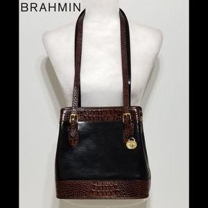 BRAHMIN  Black and Brown Bucket Handbag